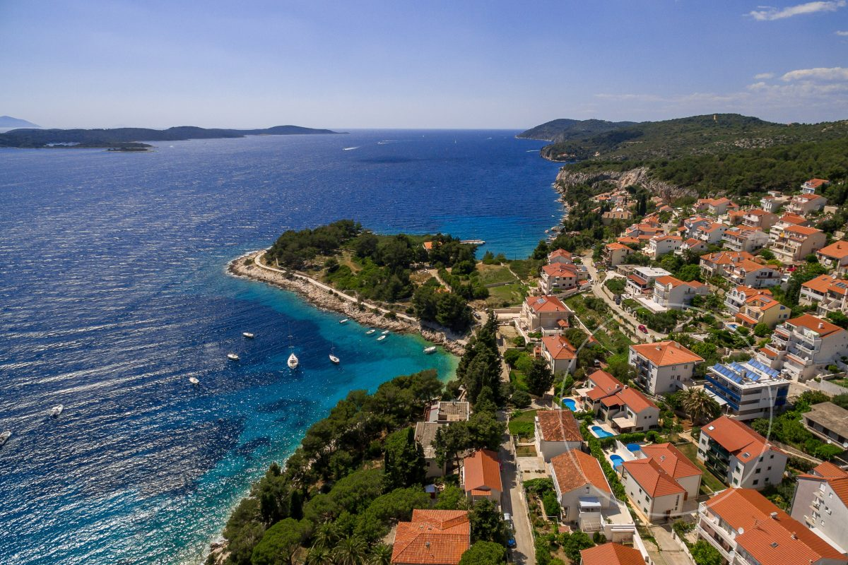 Drone view of Villa Mare and stunning front bay